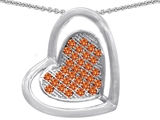 Star K™ Round Simulated Mexican Orange Fire Opal Heart Shape Pendant Necklace style: 306540