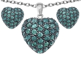 Star K™ Simulated Emerald Puffed Heart Love Pendant with matching earrings style: 306547