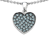 Star K™ Heart Shape Love Pendant Necklace with Simulated Aquamarine style: 306556