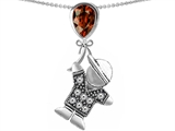 Star K™ Boy Holding a Balloon Mother January Birth Month Pear Shape Simulated Garnet Pendant Necklace style: 306563