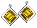 Star K™ Square Genuine Citrine Earrings Studs With High Post On Back style: 306570