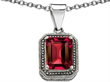 Star K™ Bali Style Emerald Cut 10x8mm Created Ruby Pendant Necklace style: 306581