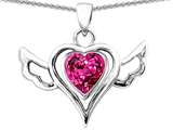 Star K™ Wings Of Love Pendant Necklace with Heart Created Pink Sapphire style: 306582