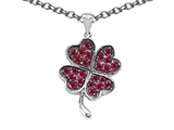 Celtic Love by Kelly Lucky Clover Pendant Necklace with Created Ruby style: 306585