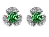Original Star K™ Flower Earrings With Round 5mm Simulated Emerald style: 306588