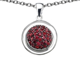 Star K™ Round Puffed Pendant Necklace with Created Ruby style: 306590