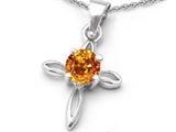Star K™ Round Genuine Citrine Cross Pendant Necklace style: 306595