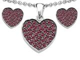Star K™ Created Ruby Heart Shape Love Pendant with matching earrings style: 306604