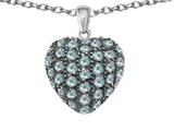 Star K™ Puffed Heart Love Pendant Necklace with Simulated Aquamarine style: 306609