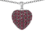 Star K™ Puffed Heart Love Pendant Necklace with Created Ruby style: 306612