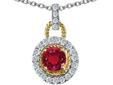 Star K™ Round 6mm Created Ruby Pendant Necklace style: 306614