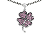 Celtic Love by Kelly Lucky Clover Pendant Necklace with Created Pink Sapphire style: 306619