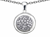 Star K™ Round Puffed Pendant Necklace with Cubic Zirconia style: 306620