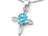 Star K™ Round Simulated Aquamarine Cross Pendant Necklace style: 306622