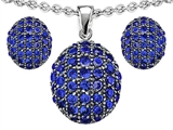 Star K™ Created Sapphire Oval Puffed Pendant with matching earrings style: 306623