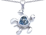 Star K™ Large 10mm Heart Shape Simulated Aquamarine Sea Turtle Pendant Necklace style: 306631