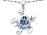 Star K™ Large 10mm Heart Shape Simulated Aquamarine Sea Turtle Pendant Necklace style: 306631