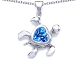 Star K™ Large 10mm Heart Shape Simulated Blue Topaz Sea Turtle Pendant Necklace style: 306634