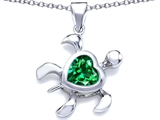 Star K™ Large 10mm Heart Shape Simulated Emerald Sea Turtle Pendant Necklace style: 306636
