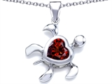 Star K™ Large 10mm Heart Shape Simulated Garnet Sea Turtle Pendant Necklace style: 306637