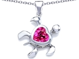 Star K™ Large 10mm Heart Shape Created Pink Sapphire Sea Turtle Pendant Necklace style: 306640