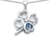 Star K™ Large 7mm Heart Shape Simulated Aquamarine Lucky Clover Heart Pendant Necklace style: 306645