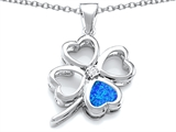 Star K™ Large 7mm Heart Shape Blue Created Opal Lucky Clover Heart Pendant Necklace style: 306646