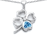 Star K™ Large 7mm Heart Shape Simulated Blue Topaz Lucky Clover Heart Pendant Necklace style: 306647
