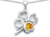 Star K™ Large 7mm Heart Shape Simulated Citrine Lucky Clover Heart Pendant Necklace style: 306648