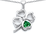 Star K™ Large 7mm Heart Shape Simulated Emerald Lucky Clover Heart Pendant Necklace style: 306649