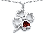 Star K™ Large 7mm Heart Shape Simulated Garnet Lucky Clover Heart Pendant Necklace style: 306650