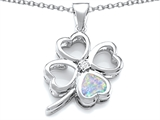 Star K™ Large 7mm Heart Shape Created Opal Lucky Clover Heart Pendant Necklace style: 306652