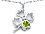 Star K™ Large 7mm Heart Shape Simulated Peridot Lucky Clover Heart Pendant Necklace style: 306653