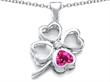 Star K™ Large 7mm Heart Shape Created Pink Sapphire Lucky Clover Heart Pendant Necklace style: 306654