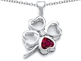 Star K™ Large 7mm Heart Shape Created Ruby Lucky Clover Heart Pendant Necklace style: 306655