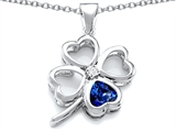 Star K™ Large 7mm Heart Shape Created Sapphire Lucky Clover Heart Pendant Necklace style: 306656