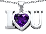 Star K™ 8mm Heart Shape Simulated Amethyst I Love You Heart Pendant Necklace style: 306657