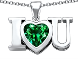 Star K™ 8mm Heart Shape Simulated Emerald I Love You Heart Pendant Necklace style: 306661