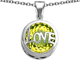 Star K™ Large Love Round Pendant Necklace with 15mm Round Simulated Peridot style: 306675
