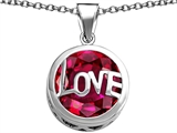 Star K™ Large Love Round Pendant Necklace with 15mm Round Created Ruby style: 306679