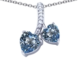 Star K™ 8mm and 7mm Heart Shape Simulated Aquamarine Double Hearts Pendant Necklace style: 306684