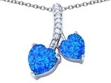 Star K™ 8mm and 7mm Heart Shape Blue Created Opal and Cubic Zirconia Double Hearts Pendant Necklace style: 306685