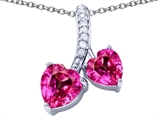Star K™ 8mm and 7mm Heart Shape Created Pink Sapphire Double Hearts Pendant Necklace style: 306689