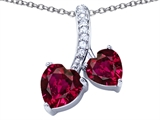 Star K™ 8mm and 7mm Heart Shape Created Ruby Double Hearts Pendant Necklace style: 306690