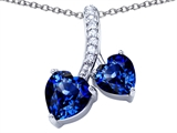 Star K™ 8mm and 7mm Heart Shape Created Sapphire Double Hearts Pendant Necklace style: 306691