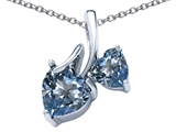 Star K™ 8mm and 6mm Heart Shape Simulated Aquamarine Double Hearts Pendant Necklace style: 306692
