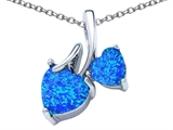 Star K™ 8mm and 6mm Heart Shape Blue Created Opal and Cubic Zirconia Double Hearts Pendant Necklace style: 306693