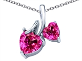 Star K™ 8mm and 6mm Heart Shape Created Pink Sapphire Double Hearts Pendant Necklace style: 306697