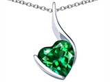 Star K™ Large 10mm Heart Shape Simulated Emerald Heart Pendant Necklace style: 306702