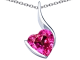 Star K™ Large 10mm Heart Shape Created Pink Sapphire Heart Pendant Necklace style: 306705